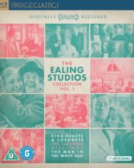 Front cover of The Ealing Studios Collection vol. 1 Blu-ray featuring Alec Guinness, Joan Greenwood and Stanley Holloway.  Part of the Vintage Classics series from Studio Canal.