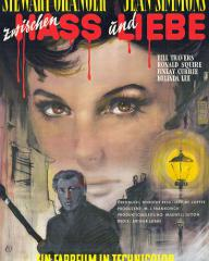 Jean Simmons (as Lily Watkins) and Stewart Granger (as Stephen Lowry) in a German poster for Footsteps in the Fog (1955) (1)