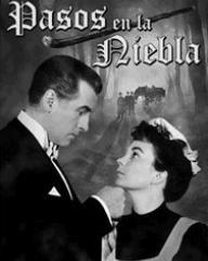 Stewart Granger (as Stephen Lowry) and Jean Simmons (as Lily Watkins) in a Spanish DVD cover of Footsteps in the Fog (1955) (1)