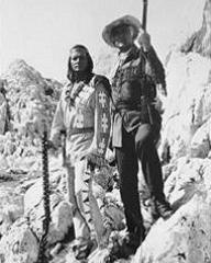 Pierre Brice (as Winnetou) and Stewart Granger (as Old Surehand) in a photograph from Frontier Hellcat (1964) (1)
