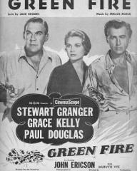 Grace Kelly (as Catherine Knowland), Stewart Granger (as Rian X. Mitchell) and Paul Douglas (as Vic Leonard) in a poster for Green Fire (1954) (5)