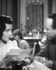 Sarah Churchill (as Ruth Cavour) and Vic Oliver (as Lucky Lyndon) in a screenshot from He Found a Star (1941) (5)