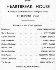 Programme from Heartbreak House (1943) at the Cambridge Theatre, London (2)