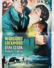 Dane Clark (as Bill Casey) and Margaret Lockwood (as Frances Gray) in an Italian poster for Highly Dangerous (1950) (1)