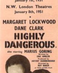 Dane Clark (as Bill Casey) and Margaret Lockwood (as Frances Gray) in a poster for Highly Dangerous (1950) (3)