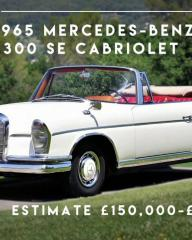 British actor James Mason's 1965 Mercedes-Benz 300 SE Cabriolet, as featured on World's Most Expensive Cars (2017).  Estimate is £150000-200,000.
