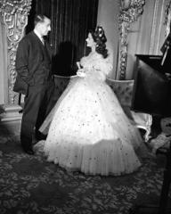 J. Arthur Rank and Margaret Lockwood chat on set of Jassy