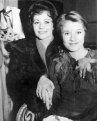 In costume as Peter Pan at the Scala Theatre in 1963, Julia Lockwood and her mother, British actress Margaret Lockwood, cut a cake.  Lockwood senior starred as Peter Pan at the same theatre in 1949 and 1950.