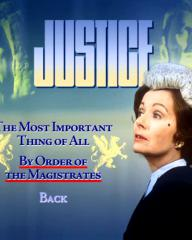 Menu from disc one of Justice season 1 DVD.  Features The Most Important Thing of All and By Order of the Magistrates