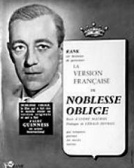Alec Guinness (as The Duke/ The Banker/ The Parson/ The General/ The Admiral/ Young Ascoyne D'Ascoyne/Young Henry/ Lady Agatha D'Ascoyne) in a French pressbook for Kind Hearts and Coronets (1949) (1)
