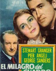 George Sanders (as Felix Guignol), Pier Angeli (as Anna Vasarri) and Stewart Granger (as Sam Conride) in a Spanish poster for The Light Touch (1952) (1)