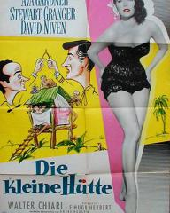 Ava Gardner (as Lady Susan Ashlow) in a German poster for The Little Hut (1957) (1)
