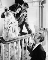 Ava Gardner (as Lady Susan Ashlow), Stewart Granger (as Sir Philip Ashlow) and David Niven (as Henry Brittingham-Brett) in a photograph from The Little Hut (1957) (6)