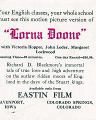 Your English classes, your whole school must see this motion picture version of Lorna Doone with Victoria Hopper, John Loder, and Margaret Lockwood.  Ink blotter from September 1940
