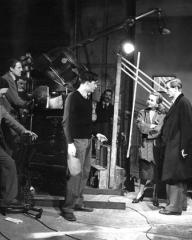 Scottish-American director Alexander Mackendrick (1912-1993) drills actors Joan Greenwood and Michael