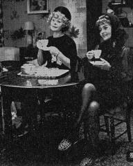 Pearl (Siobhan McKenna) and Di (Margaret Lockwood) have tea after the funeral of Pearl's husband.  On a Foggy Day, 1969.