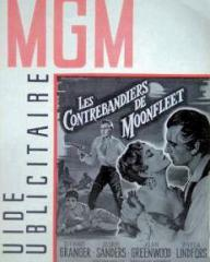 MGM Guide Publicitaire magazine with Stewart Granger and  Joan Greenwood in Moonfleet.  (French).  Les Contrebandiers de Moonfleet.