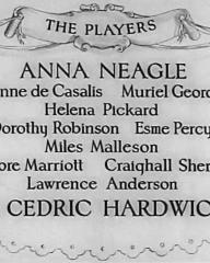 Main title from Nell Gwyn (1934) (6).  The players.  Anna Neagle Jeanne de Casalis, Muriel Goerge, Helena Pickard, Dorothy Robinson, Esme Percy, Miles Malleson, Moore Marriott, Craighall Sheryy, Lawrence Anderson, Sir Cedric Hardwicke