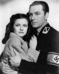 Margaret Lockwood (as Anna Bomasch) and Paul Henreid (as Karl Marsen) in a photograph from Night Train to Munich (1940) (3)