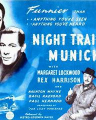 Margaret Lockwood (as Anna Bomasch), Rex Harrison (as Gus Bennett), Basil Radford (as Charters) and Naunton Wayne (as Caldicott) in a poster for Night Train to Munich (1940) (6)