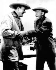 Stewart Granger (as George Pratt) and John Wayne (as Sam McCord) in a photograph from North to Alaska (1960) (1)