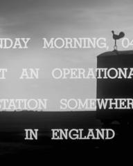 Main title from One of Our Aircraft Is Missing (1942) (2). Sunday morning, 04.26, at an operational station somewhere in England