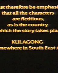 Main title from Paper Tiger (1975) (2).  'It must therefore be emphasised that all the characters are fictitious as is the country in which the story takes place.  Kulagong is somewhere in South East Asia.'