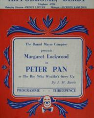 Programme from Peter Pan at the Hippodrome, Derby
