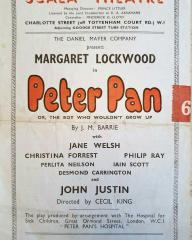 Programme from Peter Pan, performed at the Scala Theatre, London, in 1949