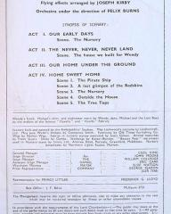 Programme from Peter Pan, performed at the Scala Theatre, London, in 1949.  Inside right page (production details)