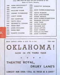 Programme from Peter Pan, performed at the Scala Theatre, London, in 1949.  Rear page
