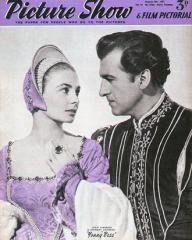 Picture Show magazine with Jean Simmons and  Stewart Granger in Young Bess.  8th August, 1953.