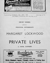 Programme from Private Lives (1949) at the Bristol Hippodrome (1)
