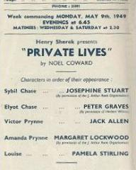 Programme from Private Lives (1949) at the Bristol Hippodrome (2)
