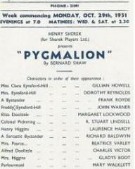 Programme from Pygmalion (1951) at the Bristol Hippodrome (1)