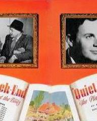 Derek Farr (as Denys Royd) and Barbara White (as Miranda Bute) in a pressbook for Quiet Weekend (1946) (2)