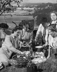 Frank Cellier (as Adrian Barrasford), George Thorpe (as Arthur Royd) and Barbara White (as Miranda Bute) in a screenshot from Quiet Weekend (1946) (3)