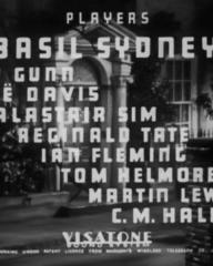 Main title from The Riverside Murder (1935) (4). Players: Basil Sydney, Judy Gunn, Zoe Davis, Alastair Sim, Reginald Tate, Ian Fleming