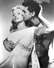Rita Hayworth (as Princess Salome) and Stewart Granger (as Commander Claudius) in a photograph from Salome (1953) (1)