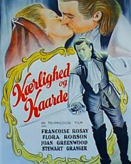 Joan Greenwood (as Sophie Dorothea) and Stewart Granger (as Count Philip Konigsmark) in a Danish poster for Saraband for Dead Lovers (1948) (1)