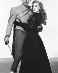 Stewart Granger (as Andre Moreau) and Eleanor Parker (as Lenore) in a photograph from Scaramouche (1952) (4)