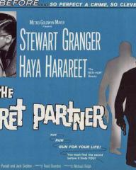 Haya Harareet (as Nicole) and Stewart Granger (as John Brent) in a poster for The Secret Partner (1961) (1)