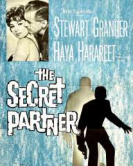 Haya Harareet (as Nicole) and Stewart Granger (as John Brent) in a poster for The Secret Partner (1961) (2)
