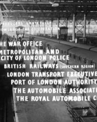 Main title from Seven Days to Noon (1950) (10).  The producers gratefully acknowledge the co-operation of The War Office Metropolitan and City of London Police, British Railways (Southern Region), London Transport Executive, Port of London Authority, The Automobile Association, The Royal Automobile Club