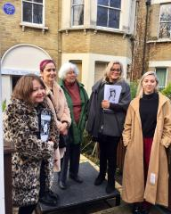 Speakers at the unveiling of the Margaret Lockwood blue plaque in Upper Norwood gather for photographs.  Picture shows (L-R): Sarah Cronin-Stanley (Talking Pictures TV) Prof Lynda Nead (English Heritage), Betty Elzea (second cousin of Margaret Lockwood), Tania Todd and Martha Clarke (great-granddaughter of Margaret Lockwood)