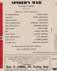 Programme from Spider's Web (1954) at the Golders Green Hippodrome, London (1)