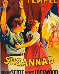 Shirley Temple (as Susannah Sheldon) and Douglas Fairbanks Jr in a Spanish poster for Susannah of the Mounties (1939) (1)