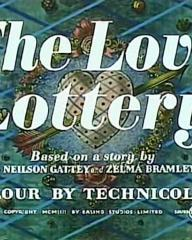 Main title from The Love Lottery (1954).  Based on a story by Charles Neilson Gattey and Zelma Bramley-Moore.  Colour by Technicolor.  Copyright 1953 by Ealing Studios Limited