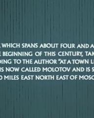 Main title from Three Sisters (1970) (2). This story, which spans about four and a half years over the beginning of this century, takes place according to the author 'at a town like Perm', which is now called Molotov and is situated 900 miles east-north-east of Moscow