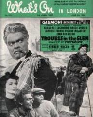 What's On in London magazine with Margaret Lockwood and  Orson Welles in Trouble in the Glen.  June, 1954.